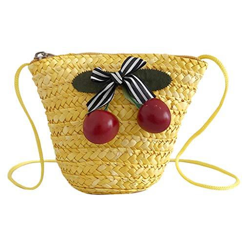 Xmiral Messenger Bag Flower Decorative Bags Women Children's Bag Cute Straw Shoulder Handbags(A Yellow)