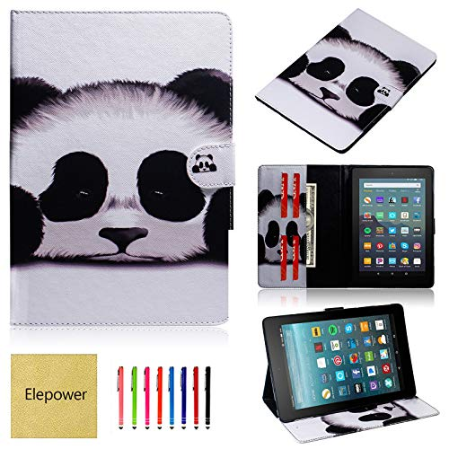 Fire 7 Tablet Case, Elepower Slim Fit PU Leather Flip Folio Stand Magnetic Closure Cover with Card Slots for All-New Amazon Kindle Fire 7-Inch (9th/7th Generation, 2019/2017 Release) Cute Panda