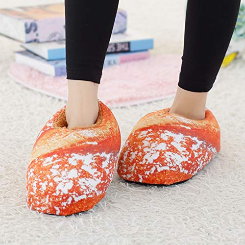 Ladies Winter Warm Shoes Simulation Bread Fluffy Shoes Warm Slippers Hamburger Shoes Home Non Slip Slippers Carpet Shoes (C)