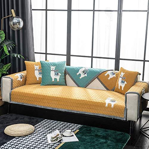 YUTJK Salón de sofá, Fundas de Asiento de sofá de Tela para Sala de Estar, Funda Protectora de Muebles, Cojín de sofá cálido Bordado, para salón, Broncearse