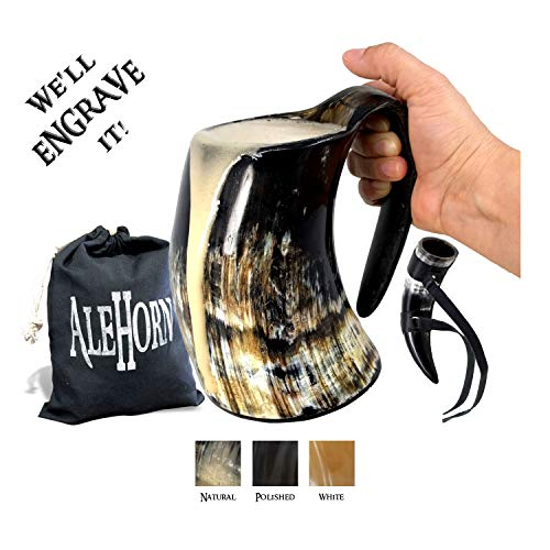 AleHorn - Viking Drinking Horn - XL Tankard - Genuine Handcrafted Beer Cup for Ale, Mead - Food Safe...