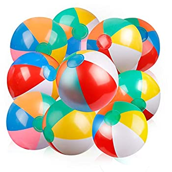 Coogam Inflatable Beach Ball Classic Rainbow Color Birthday Pool Party Favors Summer Water Toy Fun Play Beachball Game for Kid Boys Girls 8 to 12 Inches from Inflated to Deflated  10 PCS