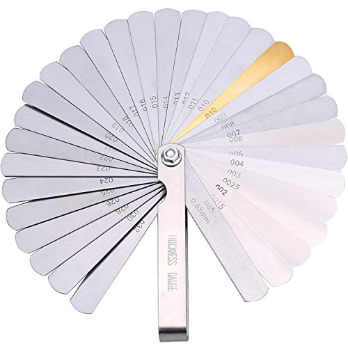 Stainless Steel Feeler Gauge Dual Marked Metric and Imperial Gap Measuring Tool (0.04-0.88 mm, 32 Blades)