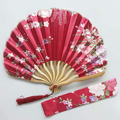 1SourceTek Abanicos plegables de seda de 21 cm para mujer con funda de tela para regalo, estilo retro chino (rojo vino)