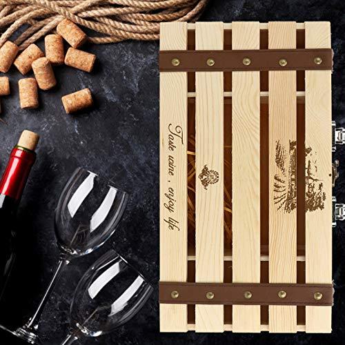 Omabeta Caja para Botellas de Vino con asa portátil Caja para Vino Tinto Dos Botellas clásicas para decoración de Regalo