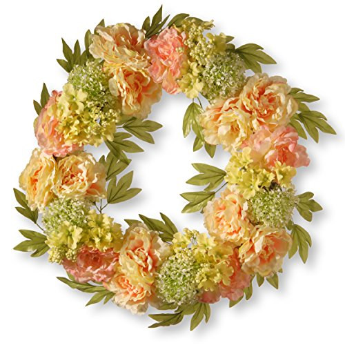 National Tree 24 Inch Cream Wreath with Peonies, Pink Flowers and Berries (RAS-15548W24C )