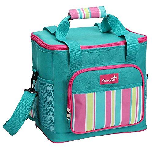 SERISIMPLE Soft Cooler Bag Collapsible Outdoor Insulated Picnic Bag Portable Adult Lunch Bag Insulated Grocery Shopping Bags Leak Proof Liner with Sliver Lake Logo (Egg Blue, 36 Can)