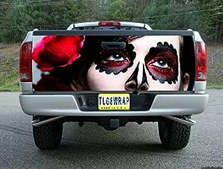 Tailgate Wrap T177 Sugar Skull Day of The Dead Vinyl Graphic Decal Sticker F150 F250 F350 Ram Silverado Sierra Tundra Ranger Frontier Titan Tacoma 1500 2500 3500 Bed Cover