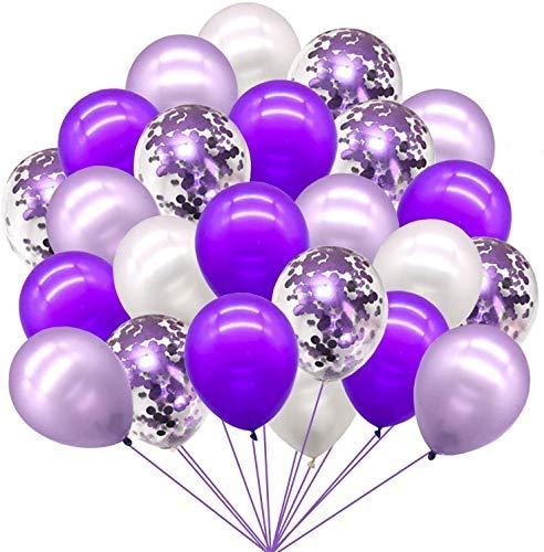 GuassLee Juego de globos de confeti de 72 unidades, color morado y blanco, juego de guirnalda de globos para bodas, cumpleaños, graduación y fiestas de decoración
