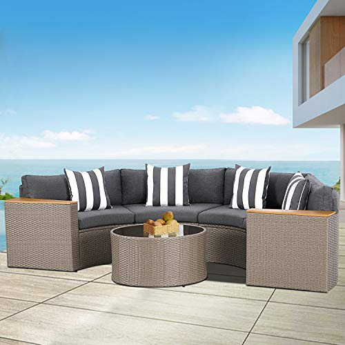 SOLAURA Outdoor 5-Piece Sectional Furniture Patio Half-Moon Set Wicker Sofa Grey Cushions & Sophisticated Glass Coffee Table Father (Grey)