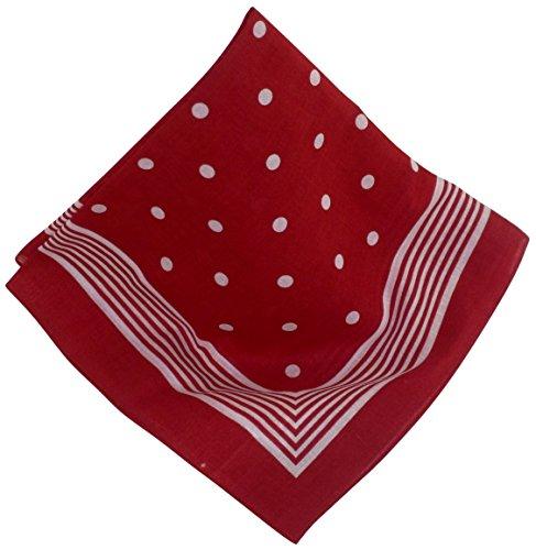 Rotes Nickituch mit Punkten   Bandana aus 100% Baumwolle   53 x 53 cm   Halstuch   Teichmann