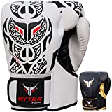 Mytra Fusion Tribal Boxing Gloves Real Leather Boxing Gloves 10oz 12oz 14oz 16oz Boxing Gloves for Training Punching Sparring Punching Bag Boxing Bag Gloves Punch Bag (16-oz, White Black)