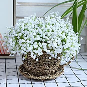 20 pcs 60 Branches White Babys Breath Flowers Bouquests Artificial Fake Gypsophila for Wedding Bridal Bouquet Garland DIY Floral Arrangement Wreath Home Office Table Décor Centerpiece Real Touch