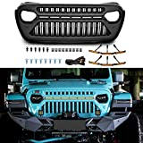 TOPFIRE Front Grill Compatible with 2018 2019 2020 Jeep Wrangler JL JLU & Unlimited Rubicon Sahara Sport and 2020 Gladiator with 6 PCs Amber Lights, Matte Black