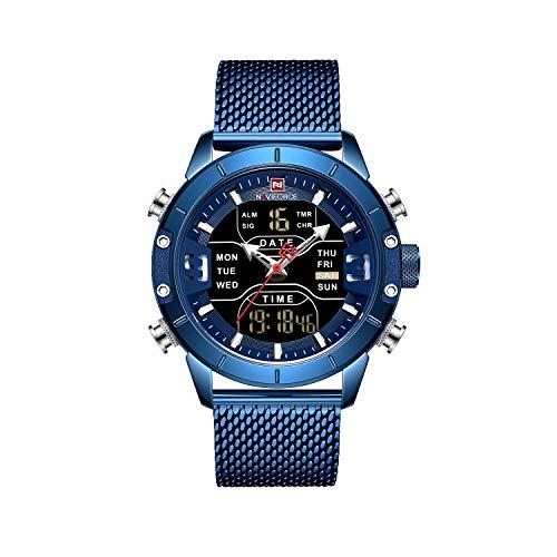 NAVIFORCE Reloj de pulsera analógico de acero Stianless para hombre con función Muti cronómetro calendario alarma NF9153