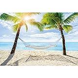 Yeele 3x2m Playa de Verano Fotografía Fondo Hamaca Cocoteros Isla Tropical Playa Fotografía Fondo Verano Fiesta Tropical Intemperie Vacaciones Accesorios de Fotos
