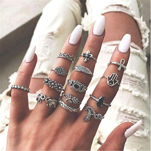 Cathercing 14 Pcs Boho Silver Ring Sets for Women Knuckle Vintage Rings Pack for Women Girls Snake Elephant Floral Rings Joint Knot Rings Set for Teens Party Daily Fesvital Jewelry Gift