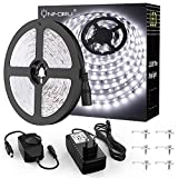 Onforu 10M Tira LED Regulable, Blanco Frío 5000K LED Strip, Kit Cinta Flexible, 24V Franja LED con Regulador de Intensidad, Decoración Interior de LEDs 2835 con Adaptador para Habitación Cocina Salón