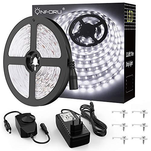 Onforu 10M Tira LED Regulable, Blanco Frío 5000K LED Strip, Kit Cinta Flexible, 24V Franja LED con Regulador de Intensidad, Decoración Interior de LEDs 2835 con Adaptador para Habitación Cocina Salón