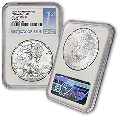 2020 (W) 1 oz American Silver Eagle Coin MS-70 S$1 (First Day of Issue - Struck at West Point Mint) NGC by CoinFolio $1 Mint NGC