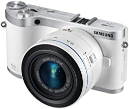 """Samsung NX300 20.3MP CMOS Smart WiFi Mirrorless Digital Camera with 20-50mm Lens and 3.3"""" AMOLED Touch Screen (White)"""