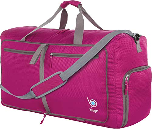 Bago 60L Duffle Bags for Men & Women - 23 Foldable Travel Duffel Weekender Bag, Pink, Medium 60 Liters