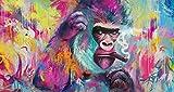 ZXYFBH Cuadros Decoracion Salon Divertido orangután Fumador Pintura Decorativa Cuadros de Pared para Sala de Estar Pintura en Lienzo 50x100cmnoframe 1