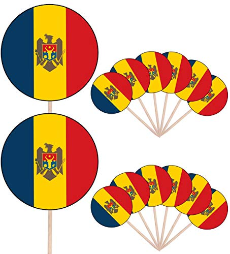 Moldavië Vlag Partij Voedsel Cake Cupcakes Picks Sticks Vlaggen Opstaan Decoraties Toppers (Pak van 14)