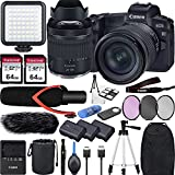 Canon EOS R with RF 24-105mm f/4-7.1 is STM Lens Mirrorless Digital Camera Bundle with V30 Shotgun Microphone, LED Light, 2X Extra Battery and Accessories(Backpack, 50' Tripod, 128Gb Memory and More)