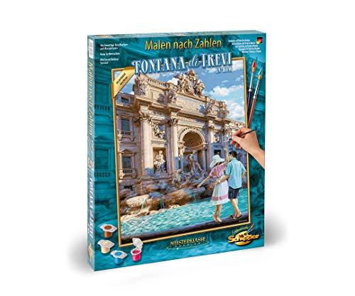 Schipper 609130819 - Malen nach Zahlen - Fontana die Trevi in Rom-Bilder malen für Erwachsene, inklusive Pinsel und Acrylfarben, 40 x 50 cm