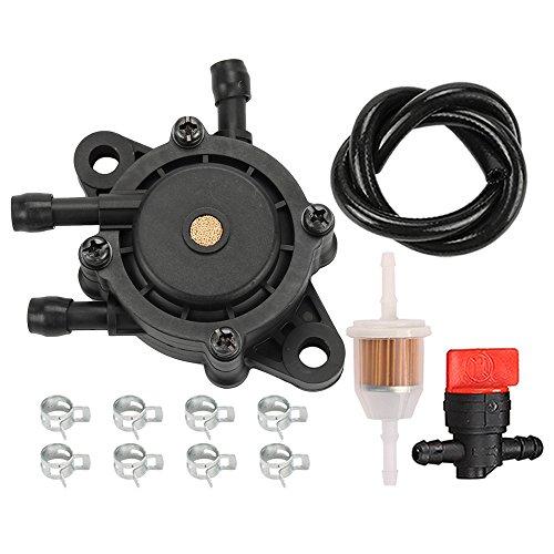 Savior 691034 692313 Fuel Pump with Fuel Line Filter for BS 808656 491922 Kohler 24 393 04-S 24 393 16-S Honda 16700-Z0J-003 J D LG808656 M145667 Kawasaki 49040-7001 Engine
