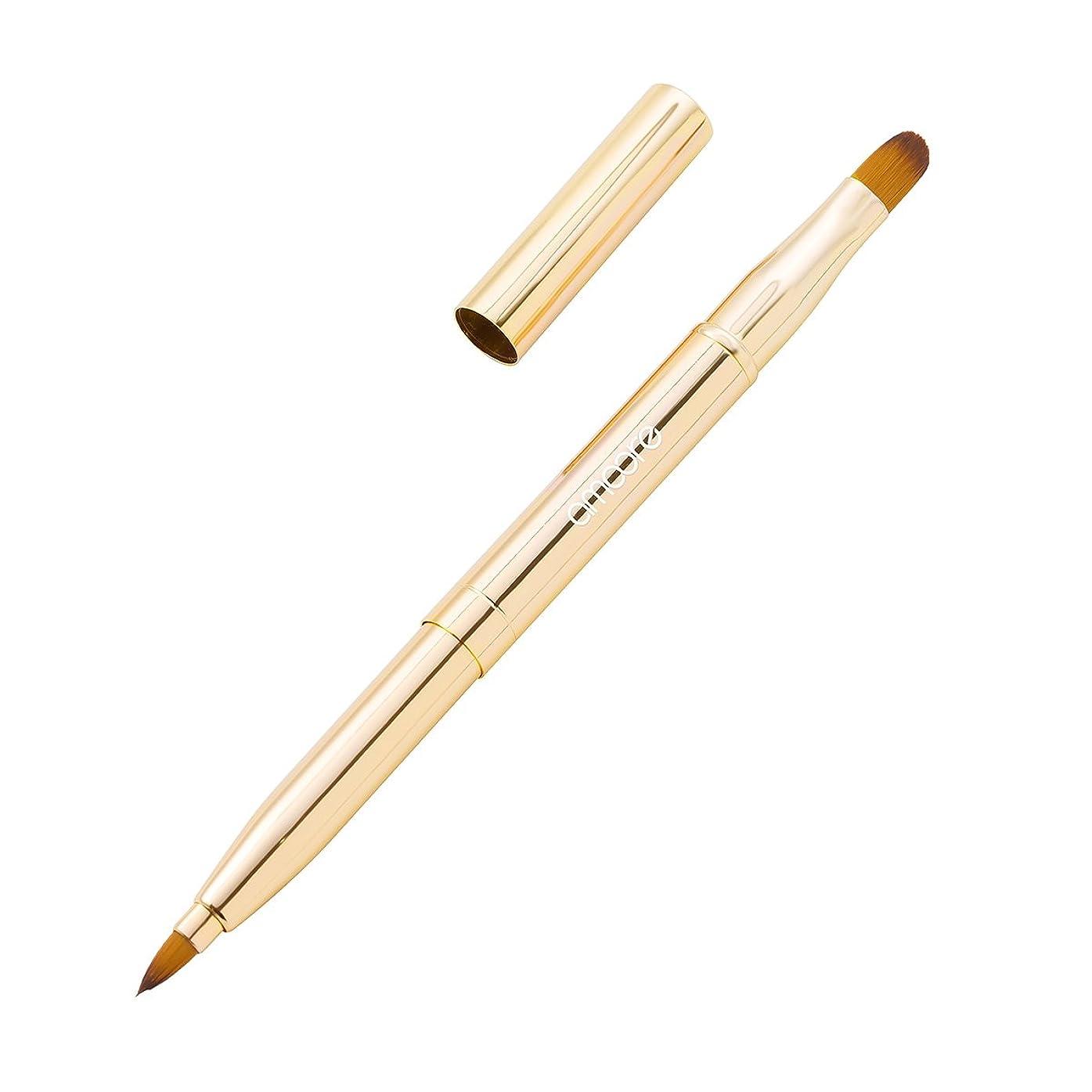 クラシカル強化するおとうさんamoore リップブラシ アイシャドウブラシ コンシーラーブラシ 3in1 伸縮可能 持ち運び便利 (ゴールド)