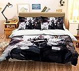AQEWXBB Juego de ropa de cama de verano 3D Tokyo Ghoul con diseño de anime japonés, funda de edredón y funda de almohada para cama individual, Queen y King 3D (A1,220 x 240 cm + 50 x 75 cm x 2)