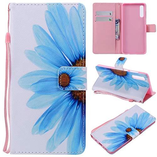 Miagon PU Cuir Coque pour Samsung Galaxy A50,Coloré Motif Portefeuille Étui Housse Cover avec Stand Support Porte-Cartes de Crédit,Bleu Fleur