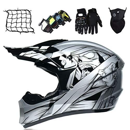Casco de Motocross para Niños de 6 a 14 Años, Casco Protector de Integrales para MTB Downhill Quad Enduro, Casco de Moto con Gafas/Guantes/Máscara/Red de Bungy, Unisex - Plateado