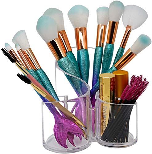 Porte-pinceau de maquillage de 3 fentes,organisateur de maquillage acrylique transparent Dolovemk-organisateur cosmétique acrylique,organisateur de stockage de pinceau de maquillage