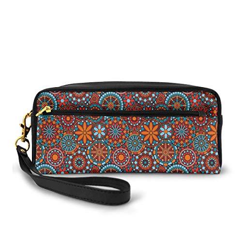 Pencil Case Pen Bag Pouch Stationary,Ethnic Asian Tribal Circular Floral Cosmos Symbolism Moroccan Design,Small Makeup Bag Coin Purse