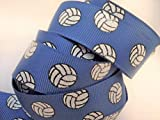 Grosgrain Ribbon - Royal Blue Glitter Volleyball Print - 7/8' Wide - 5 Yards - Hair Bows & Team Crafts