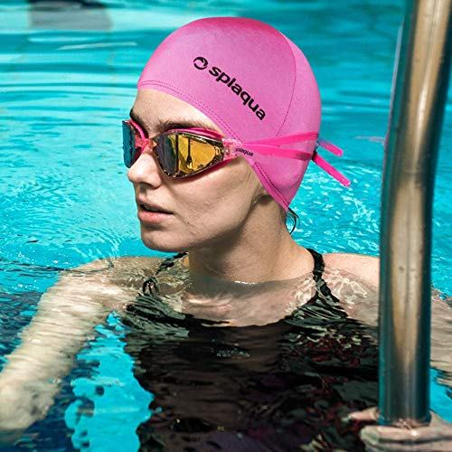 Splaqua Pink Lycra Swim Cap -Comfort Stretch Swimming, Bathing and Shower Hair Cover - Keeps Hair Dry and Protected