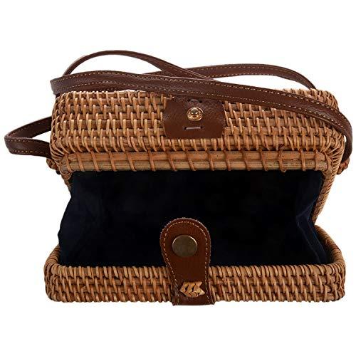 Senmubery INS nuevo bolsa tejida a mano de senoras paquete de hebilla de cuero tejido a mano literaria retro de ratan cuadrado Bolsa de mensajero de playa bohemia