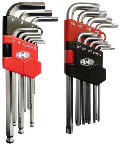 Famex Werkzeug Sparset Winkelschraubendreher für Sechskant Innensechskant- und für Torx-Schrauben, lang, 18-teilig, 10790