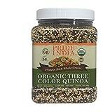 Pride Of India - Organic Three Color Quinoa - 100% Royal Bolivian Superior Grade Protein Rich Whole Grain, 1.5 Pound (24oz) Jar