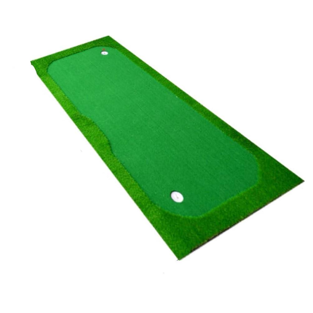 リングレット手順もちろんパット練習器具 高品質屋内ゴルフパッティンググリーンポータブルグリーンゴルフシミュレータトレーニングマットエイド機器グリーンゴルフパッティングマットプロの練習 (色 : 緑, サイズ : 1.5*3)