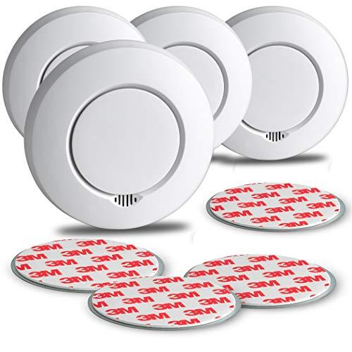 SEBSON Funk Rauchmelder austauschbare Batterien, vernetzbar (GS412), DIN EN 14604, fotoelektrischer Rauchwarnmelder Hitzemelder inkl. Magnethalterung, 4er Pack