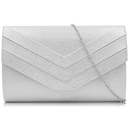Milisente Damen Clutch, Handtasche Clutch Umschlag Crossbody schultertasche Clutch Tasche Abendtasche (Silber)