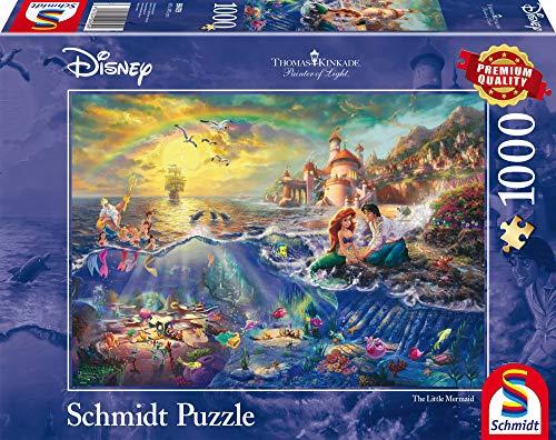 Schmidt Spiele Puzzle 59479–Puzzle Thomas Kinkade 1000Piezas Disney Sirenita, Ariel