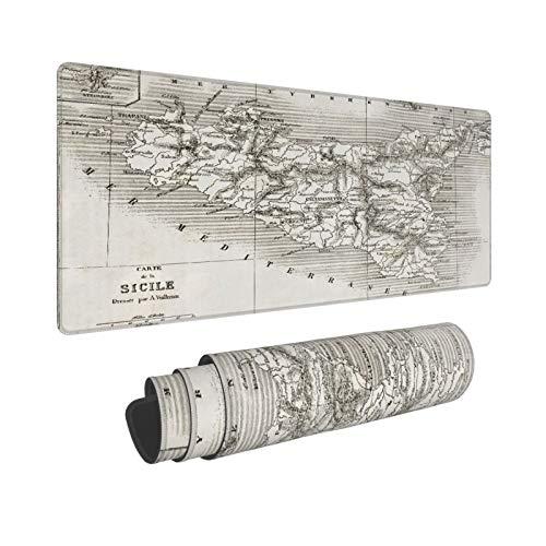 Minalo Extra Grande Alfombrilla de Ratón,XL-75 x 40 x 0.3cm,Mapa Antiguo de Sicilia con Mapa de inserción de la Isla de Stromboli,Alfombrilla de Escritorio para el Trabajo Juego Computadora Portátil