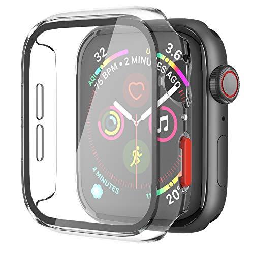 Apple Watch Series 3/Series 2/Series 1 対応 時計ケース 保護ケース 強化ガラス付きスクリーンセーバーと側面ボタンハードPCケース (42mm, トランスペアレント)