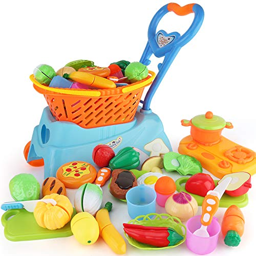 Sotodik 31PCS Cutting Toys Shopping Cart Toys Pretend Food Fruits Vegetable Playset Educational Learning Toy Kitchen Play Food For Boy Girl Kid (Blue)