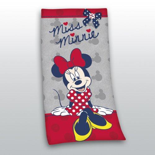 Badetuch Disney Minnie Mouse grau rot 75 x 150 cm